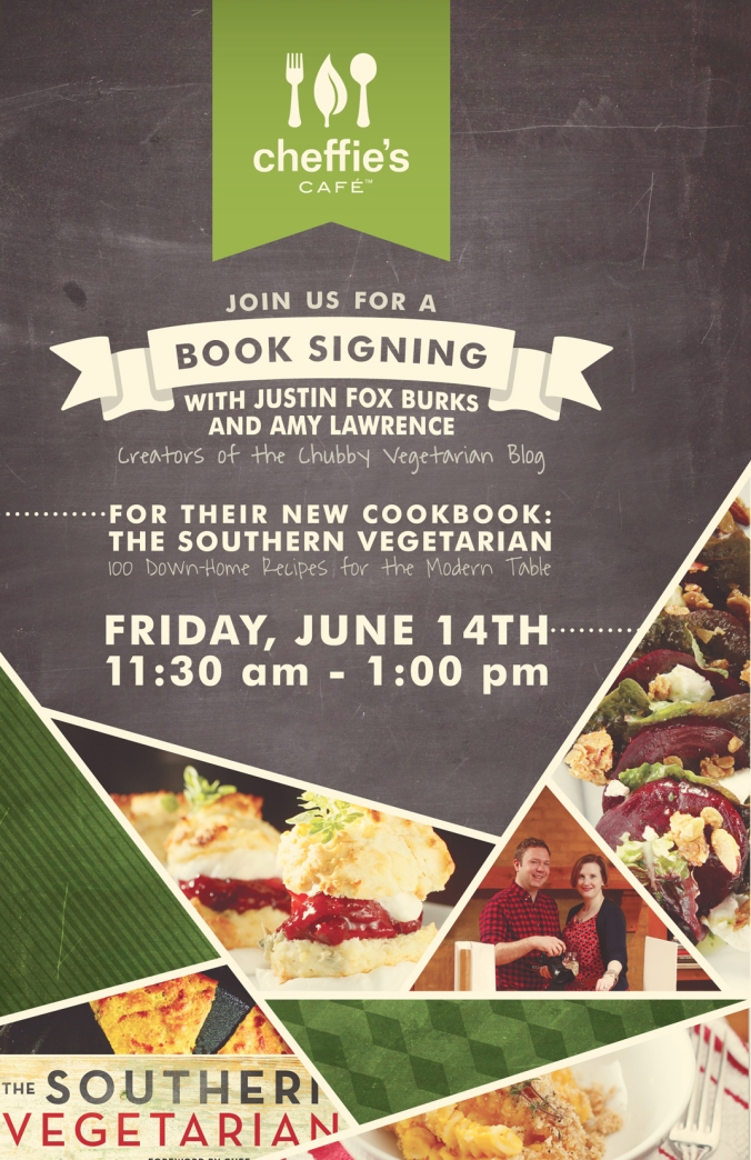 cheffies-cafe-southern-vegetarian-cookbook-book-signing-justin-fox-burks-amy-lawrence-chalkboard-typography-poster