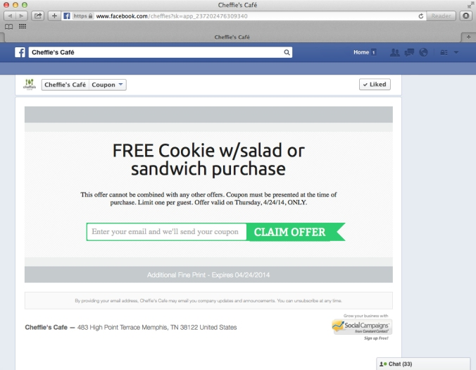 Facebook-Social-Media-Campaign-Contest-Cheffie's-Cafe-Constant-Contact-Example-Screen